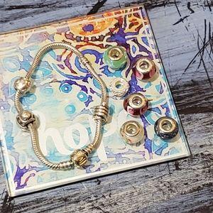 Pandora stamped 925 charm bracelet